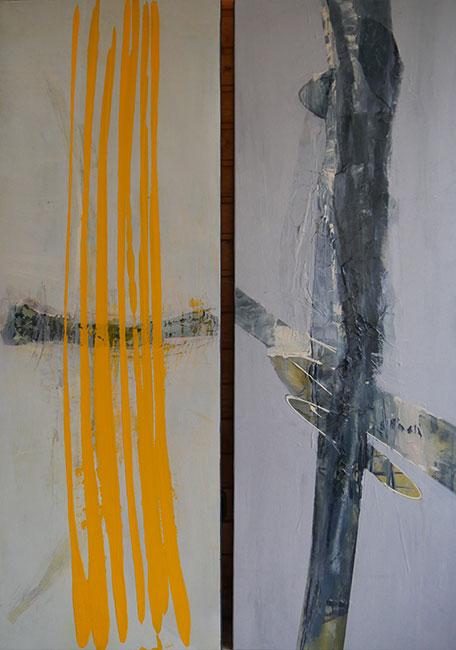 Oehröein Collage gelb und grau