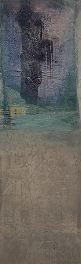 Collage mit Schrift in Erdtöne mit türkis